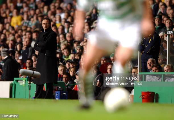 Martin O'Neill the Celtic manager watches his team in action against Feyenoord
