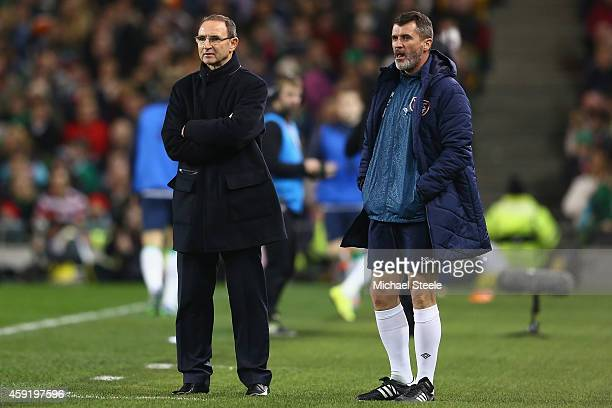 Martin O'Neill the manager of Ireland looks on alongside his assistant Roy Keane during the International Friendly match between the Republic of...