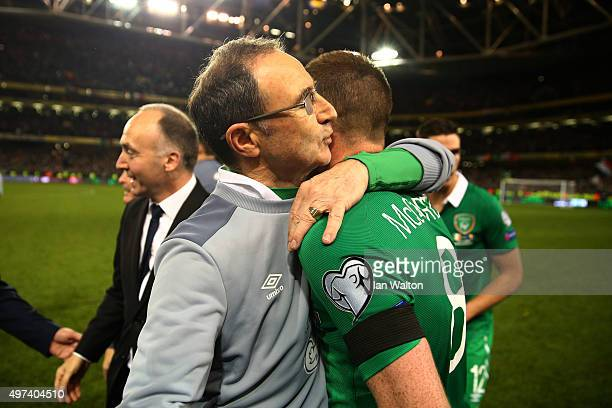 Martin O'Neill the manager of the Republic of Ireland celebrates with James McCarthy of the Republic of Ireland following their team's 20 victory and...
