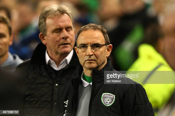Martin O'Neill the manager of the Republic of Ireland looks on during the UEFA EURO 2016 Qualifier play off second leg match between Republic of...