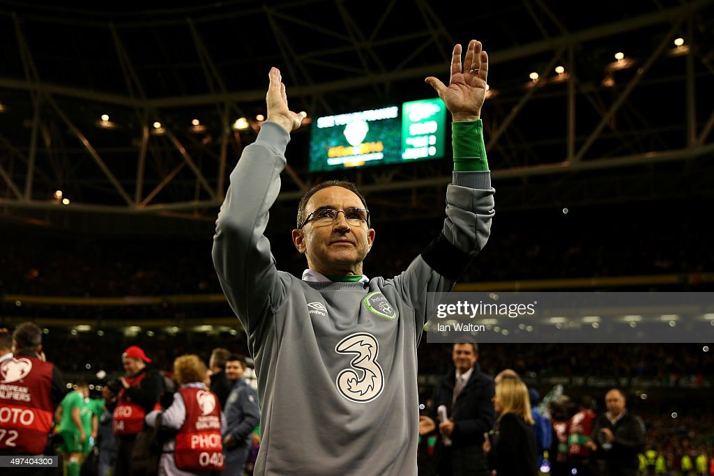 <a gi-track='captionPersonalityLinkClicked' href=/galleries/search?phrase=Martin+O%27Neill&family=editorial&specificpeople=201190 ng-click='$event.stopPropagation()'>Martin O'Neill</a> the manager of the Republic of Ireland manager celebrates following his team's 2-0 victory and qualification during the UEFA EURO 2016 Qualifier play off, second leg match between Republic of Ireland and Bosnia and Herzegovina at the Aviva Stadium on November 16, 2015 in Dublin, Ireland.