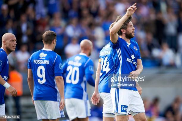 Martin Ornskov of Lyngby BK celebrate after his 20 goal during the UEFA Europa League Qualification match between Lyngby BK and Slovan Bratislava at...