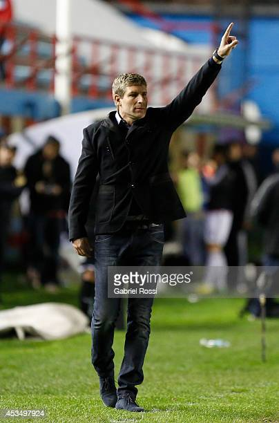 Martin Palermo coach of Arsenal gives instructions to his players during a match between Arsenal and Estudiantes as part of the first round of Torneo...