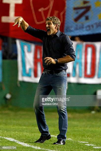 Martin Palermo coach of Arsenal gives instructions to his players during a match between Arsenal FC and River Plate as part of fifth round of Torneo...