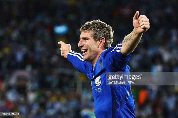 Martin Palermo of Argentina celebrates scoring during the 2010 FIFA World Cup South Africa Group B match between Greece and Argentina at Peter Mokaba...