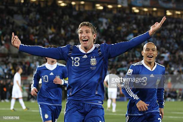 Martin Palermo of Argentina celebrates scoring the second goal during the 2010 FIFA World Cup South Africa Group B match between Greece and Argentina...
