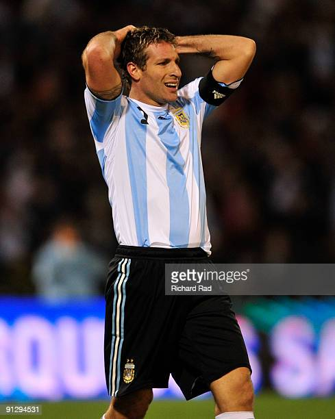 Martin Palermo of Argentina gestures during a match against Ghana as part of the International Friendly at Chateau Carrera Stadium on September 30...