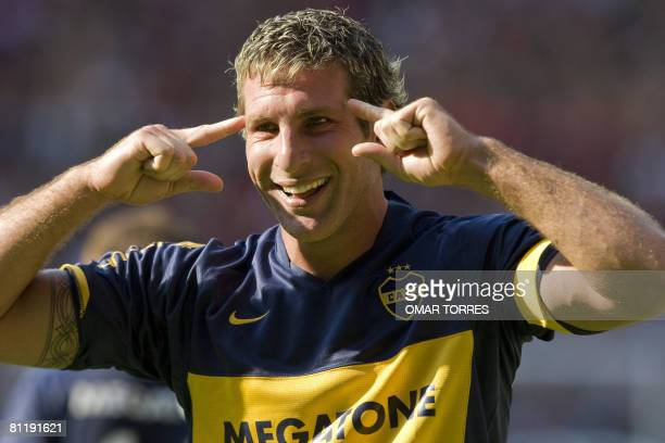 Martin Palermo of Argentinian Boca Juniors celebrates his third goal against Mexican Atlas during their Libertadores Cup quarterfinal football match...