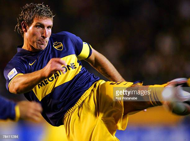 Martin Palermo of Boca Juniors volleys the ball during the FIFA Club World Cup semi final match between Boca Juniors and Etoile Sportive du Sahel at...