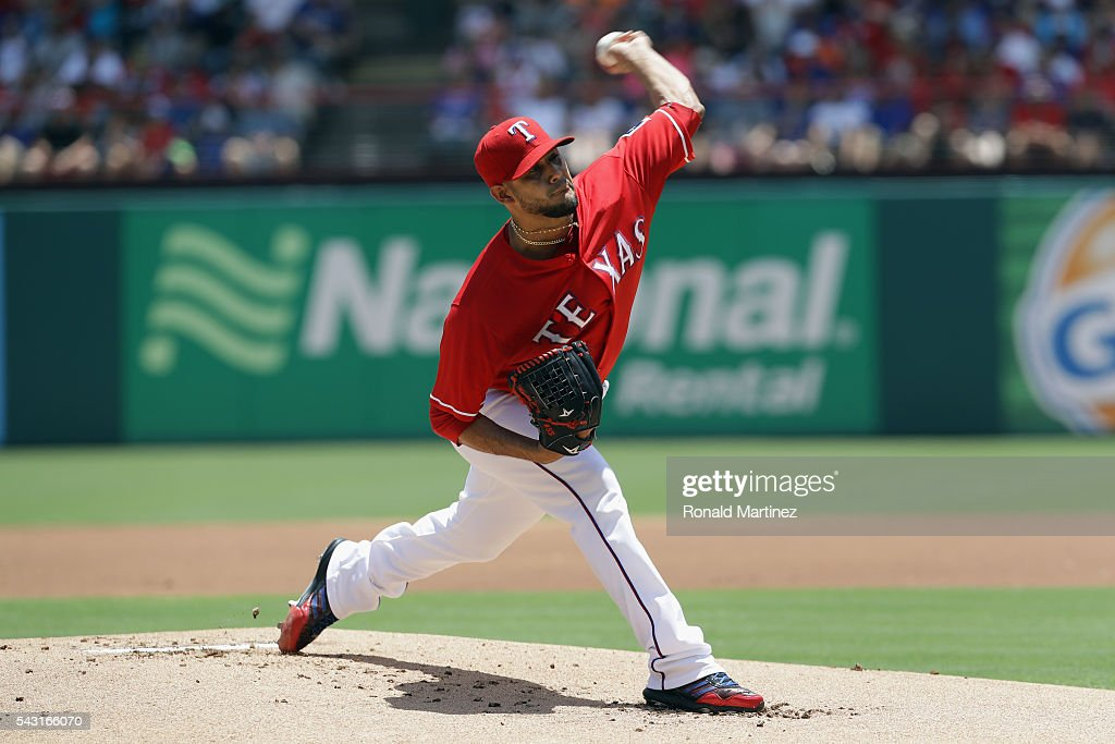 Martin Perez #33 of the Texas Rangers throws against the Boston Red Sox in the first inning at Globe Life Park in Arlington on June 26, 2016 in Arlington, Texas.