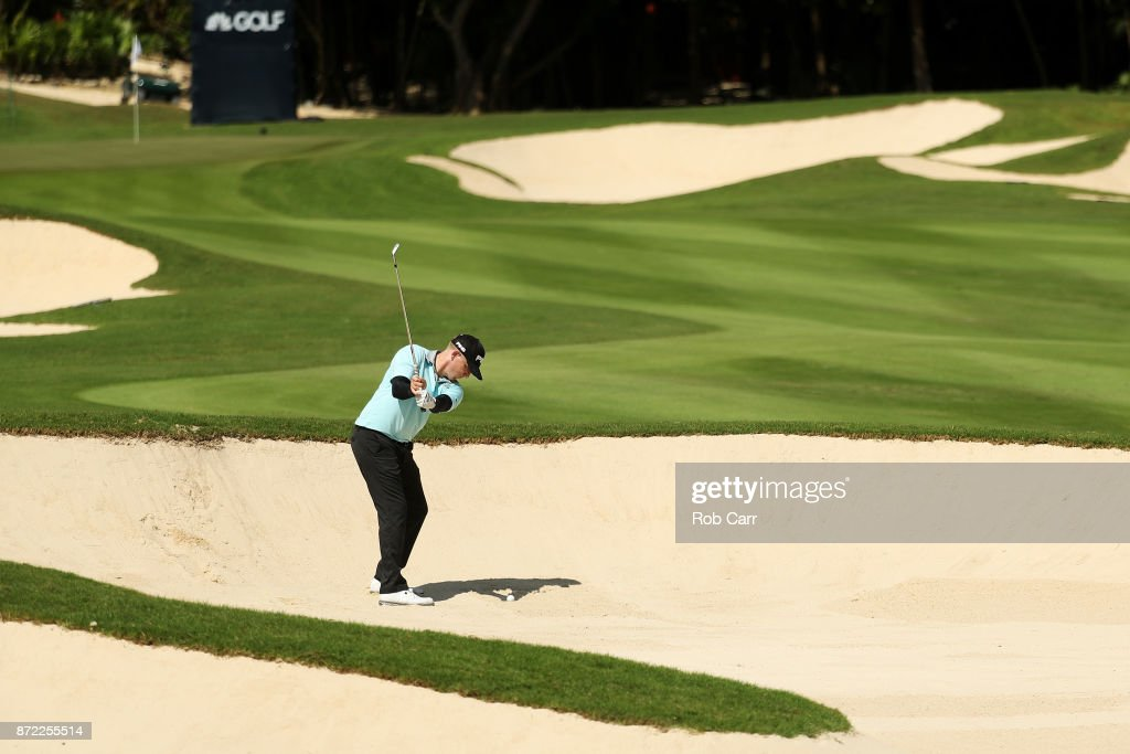 Martin Piller of the United States plays a shot from a bunker on the 18th hole during the first round of the OHL Classic at Mayakoba on November 9, 2017 in Playa del Carmen, Mexico.