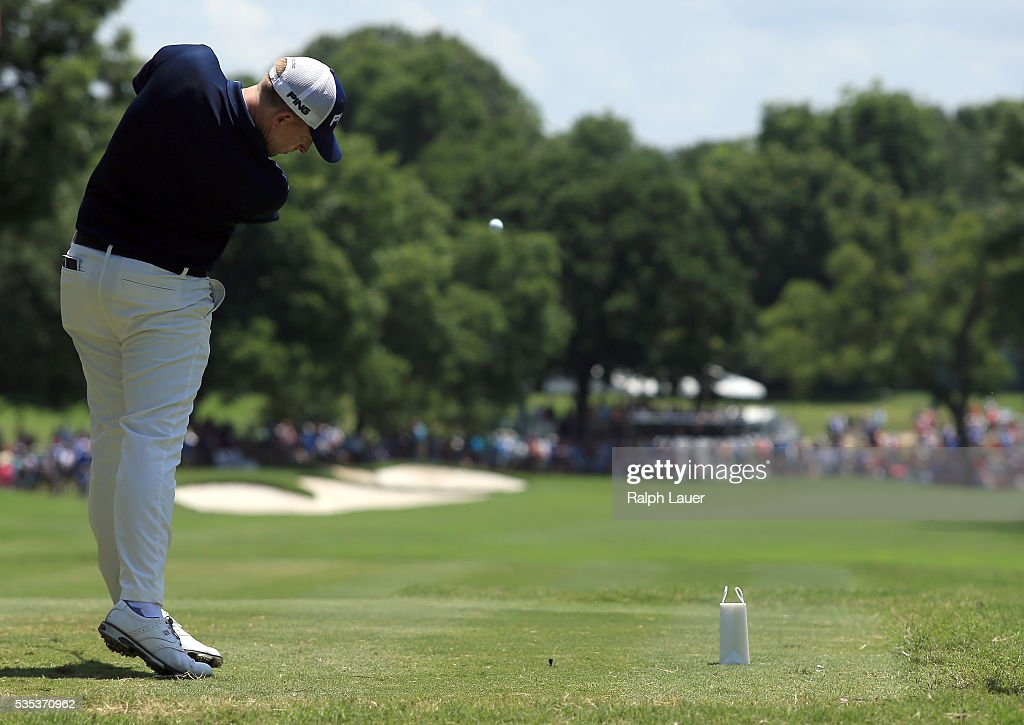 <a gi-track='captionPersonalityLinkClicked' href=/galleries/search?phrase=Martin+Piller&family=editorial&specificpeople=5745583 ng-click='$event.stopPropagation()'>Martin Piller</a> plays his shot from the ninth tee during the Final Round of the DEAN & DELUCA Invitational at Colonial Country Club on May 29, 2016 in Fort Worth, Texas.