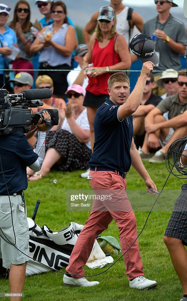 Martin Piller waves to the gallery after winning the Web.com Tour Albertsons Boise Open presented by Kraft Nabisco at Hillcrest Country Club on July 12, 2015 in Boise, Idaho.