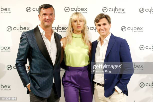 Martin Pos supermodel and actress Karolina Kurkova and her husband Archie Drury during the Cybex Fashion Cocktail on September 5 2017 in Berlin...