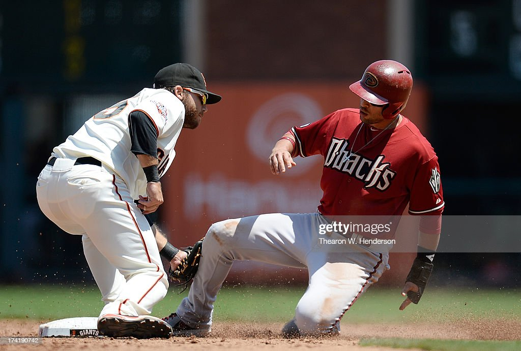 <a gi-track='captionPersonalityLinkClicked' href=/galleries/search?phrase=Martin+Prado&family=editorial&specificpeople=620159 ng-click='$event.stopPropagation()'>Martin Prado</a> #14 of the Arizona Diamondbacks gets caught stealing, tagged out at second base by <a gi-track='captionPersonalityLinkClicked' href=/galleries/search?phrase=Brandon+Crawford&family=editorial&specificpeople=5580312 ng-click='$event.stopPropagation()'>Brandon Crawford</a> #35 of the San Francisco Giants in the six inning at AT&T Park on July 21, 2013 in San Francisco, California.