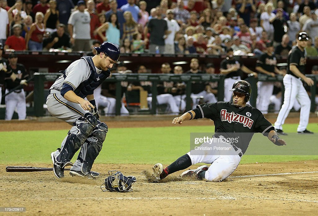 <a gi-track='captionPersonalityLinkClicked' href=/galleries/search?phrase=Martin+Prado&family=editorial&specificpeople=620159 ng-click='$event.stopPropagation()'>Martin Prado</a> #14 of the Arizona Diamondbacks is forced out at home plate by catcher <a gi-track='captionPersonalityLinkClicked' href=/galleries/search?phrase=Jonathan+Lucroy&family=editorial&specificpeople=5732413 ng-click='$event.stopPropagation()'>Jonathan Lucroy</a> #20 of the Milwaukee Brewers during the seventh inning of the MLB game at Chase Field on July 13, 2013 in Phoenix, Arizona.