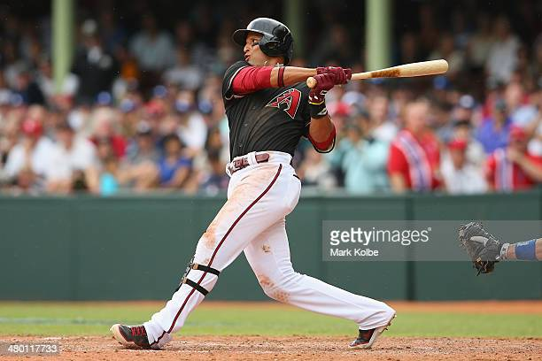 Martin Prado of the Daimondbacks bats during the MLB match between the Los Angeles Dodgers and the Arizona Diamondbacks at Sydney Cricket Ground on...