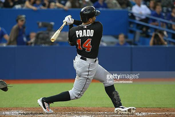 Martin Prado of the Miami Marlins bats in the seventh inning during MLB game action against the Toronto Blue Jays on June 9 2015 at Rogers Centre in...