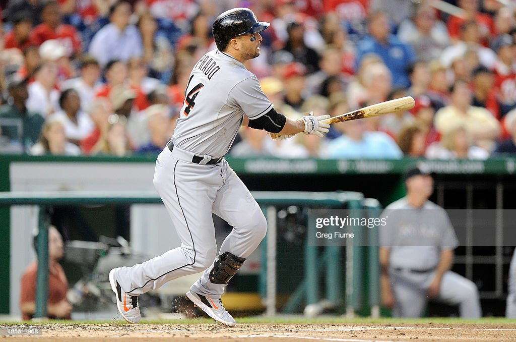 Martin Prado of the Miami Marlins hits a tworun home run in the third inning against the Washington Nationals at Nationals Park on August 28 2015 in...