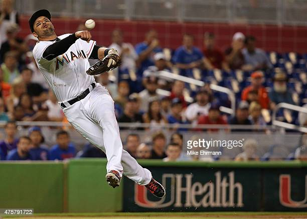 Martin Prado of the Miami Marlins makes a throw to first during a game against the Chicago Cubs at Marlins Park on June 3 2015 in Miami Florida