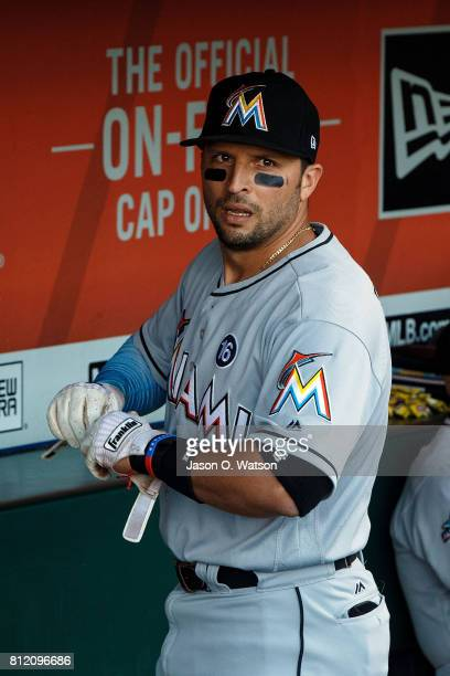 Martin Prado of the Miami Marlins stands in the dugout before the game against the San Francisco Giants at ATT Park on July 7 2017 in San Francisco...