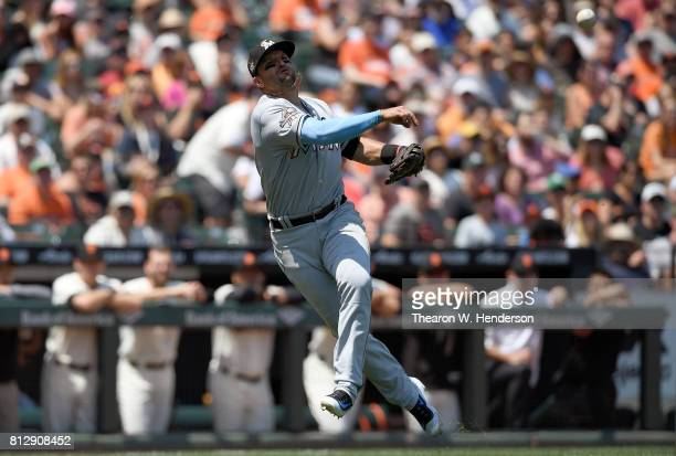 Martin Prado of the Miami Marlins throws off balance to first base but not in time to get Denard Span of the San Francisco Giants in the bottom of...
