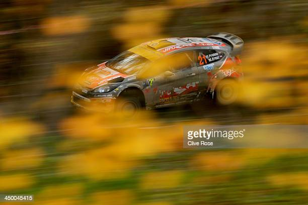 Martin Prokop and Michal Ernst of the Czech Republic compete in the Jipocar Czech National team Fiesta during the Chirk Castle stage of the FIA World...