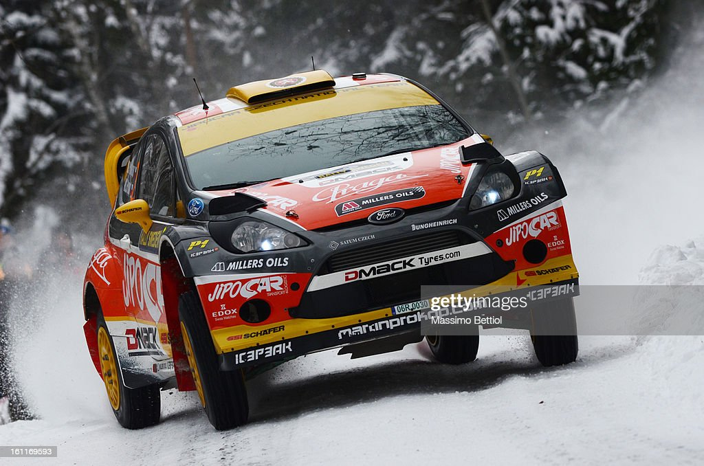 Martin Prokop of Czech Republich and Michal Ernst of Czech Republich compete in their Jipocar Czech National Team Ford Fiesta RS WRC during Day Two of the WRC Sweden on February 09 , 2013 in Karlstad , Sweden.