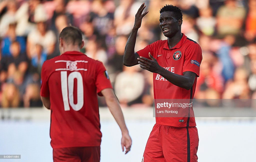 Martin Pusic and Paul Onuachu of FC Midtjylland shows frustration during the Europa League Qualifier match between FC Midtjylland and FK Suduva at MCH Arena on June 30, 2016 in Herning, Denmark.