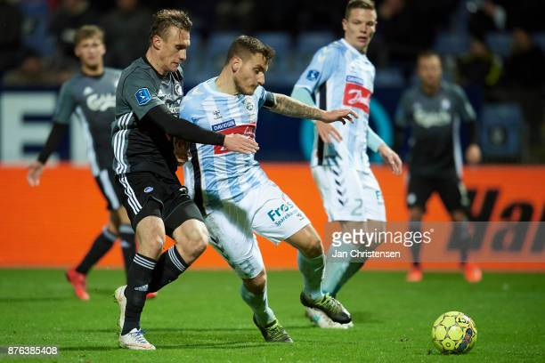Martin Pusic of FC Copenhagen and Marc Pedersen of SonderjyskE compete for the ball during the Danish Alka Superliga match between SonderjyskE and FC...