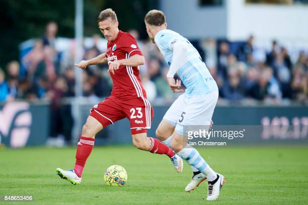 Martin Pusic of FC Copenhagen controls the ball during the Danish Alka Superliga match between FC Helsingor and FC Copenhagen at Helsingor Stadion on...