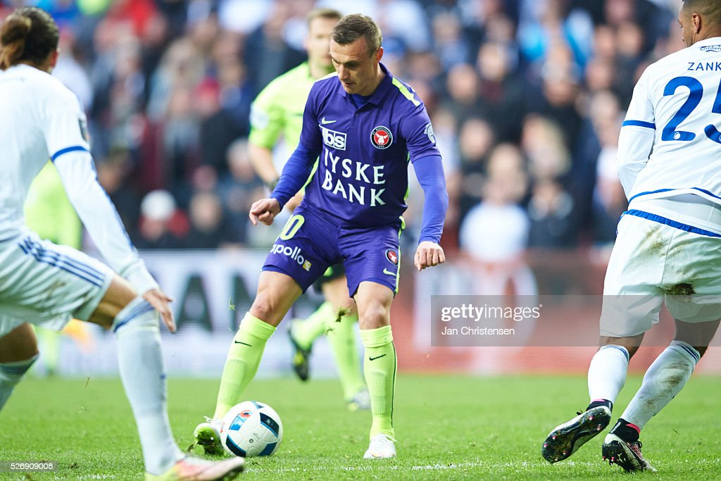Martin Pusic of FC Midtjylland in action during the Danish Alka Superliga match between FC Copenhagen and FC Midtjylland at Telia Parken Stadium on May 01, 2016 in Copenhagen, Denmark.