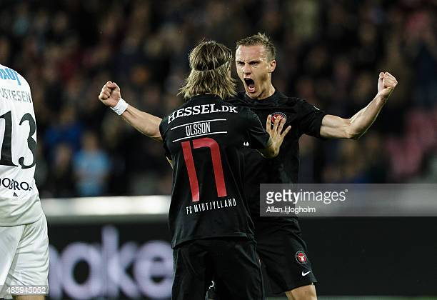Martin Pusic of Midtjylland and Kristoffer Olsson of Midtjylland celebrates after scoring their first goal during the Danish Alka Superliga match...