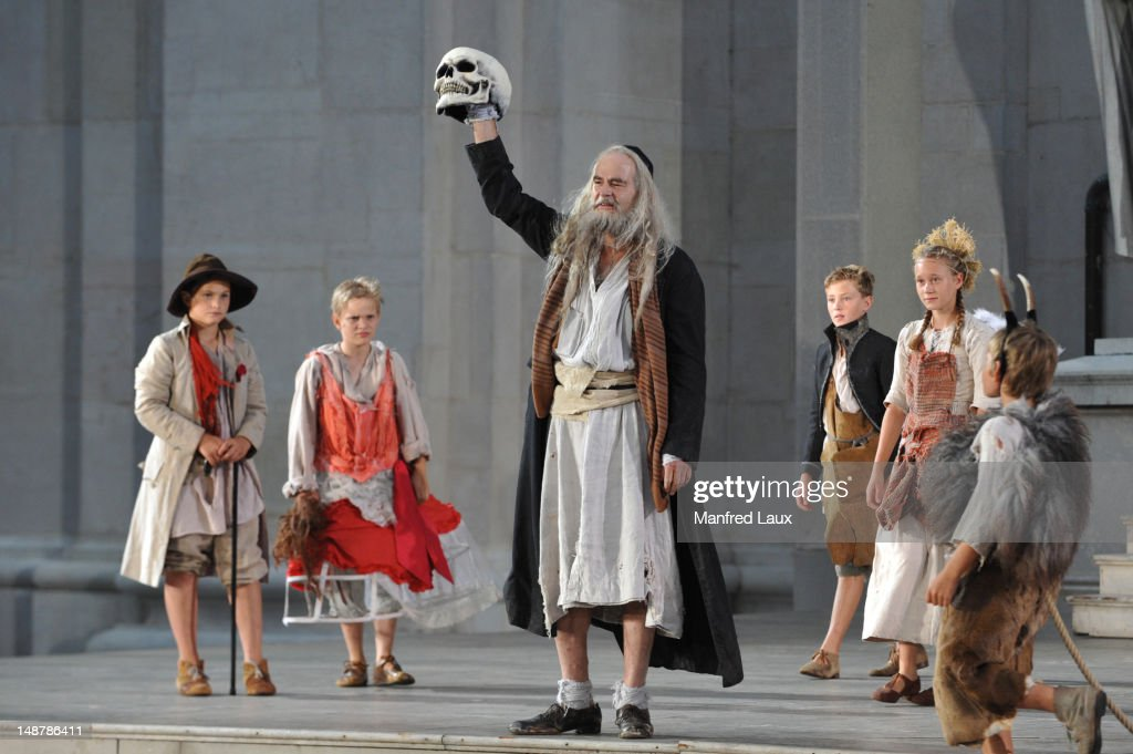 Martin Reinke (God/Poor Neighbour) is seen during the photo rehearsal of 'Jedermann' (Everyman) on the Domplatz ahead of Salzburg Festival 2012 on July 19, 2012 in Salzburg, Austria. The Salzburg Festival 2012 will run from July 20 until September 2.