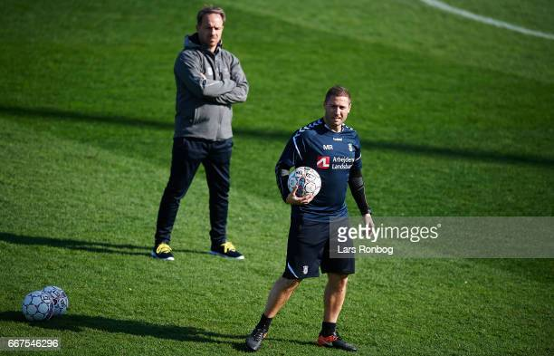 Martin Retov assistant coach of Brondby IF and Alexander Zorniger head coach of Brondby IF in action during warm up prior to the Danish Alka...