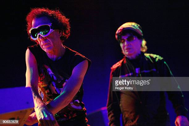 Martin Rev and Alan Vega of Suicide perform onstage at the ATP New York 2009 festival at the Kutsher's Country Club on September 11 2009 in...