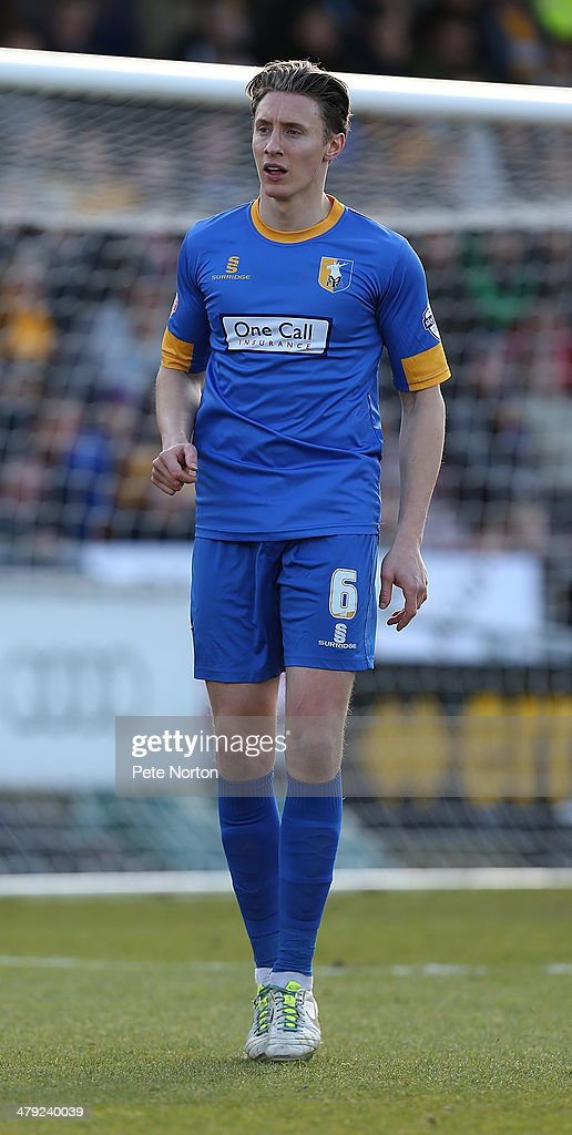 Martin Riley of Mansfield Town in action during the Sky Bet League Two match between Northampton Town and Mansfield Town at Sixfields on March 15, 2014 in Northampton, England.