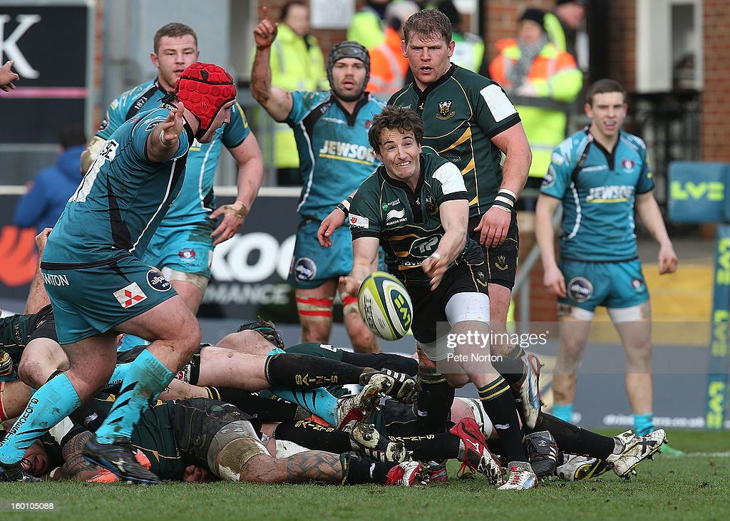 Martin Roberts of Northampton Saints passes the ball during the LV=Cup match between Northampton Saints and Gloucester at Franklin's Gardens on January 26, 2013 in Northampton, England.