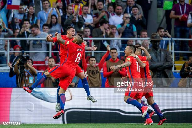 Martin Rodriguez of Chile celebrates his goal with team mates during the FIFA Confederations Cup Russia 2017 group B football match between Chile and...