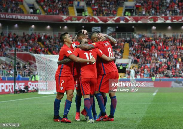 Martin Rodriguez of Chile celebrates scoring his sides first goal with his Chile team mates during the FIFA Confederations Cup Russia 2017 Group B...