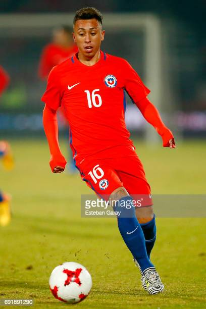 Martin Rodriguez of Chile drives the ball during a match between Chile and Burkina Faso as part of an International Friendly at Nacional Julio...