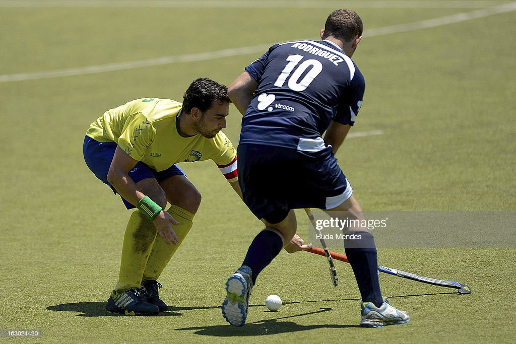 Martin Rodriguez (R) of Chile in action during a match between Brazil and Chile as part of the Hockey World League - Round 2 at Complexo Esportivo de Deodoro on March 03, 2013 in Rio de Janeiro, Brazil.