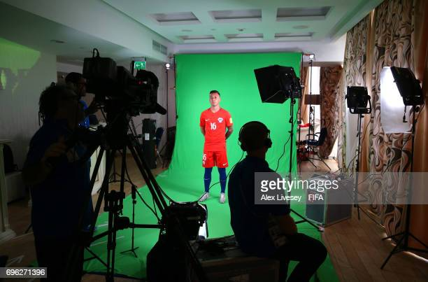 Martin Rodriguez of Chile is seen behind the scenes during a filming session ahead of the FIFA Confederations Cup Russia 2017 at the Crowne Plaza...
