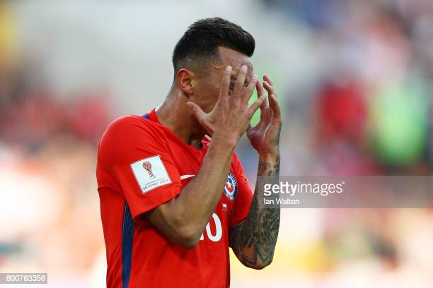 Martin Rodriguez of Chile reacts during the FIFA Confederations Cup Russia 2017 Group B match between Chile and Australia at Spartak Stadium on June...