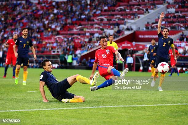 Martin Rodriguez of Chile scores his side's first goal during the FIFA Confederations Cup Russia 2017 Group B match between Chile and Australia at...