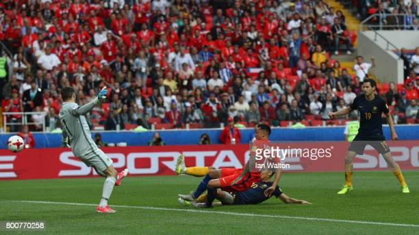 Martin Rodriguez of Chile scores his sides first goal during the FIFA Confederations Cup Russia 2017 Group B match between Chile and Australia at...