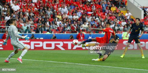 Martin Rodriguez of Chile scores his team's opening goal during the FIFA Confederations Cup Russia 2017 Group B match between Chile and Australia at...