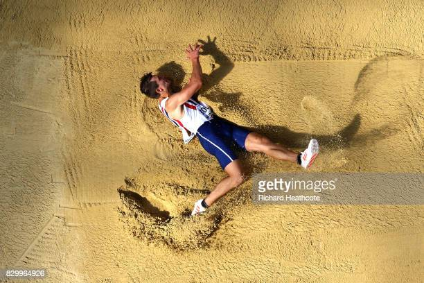 Martin Roe of Norway competes in the Men's Decathlon Long Jump during day eight of the 16th IAAF World Athletics Championships London 2017 at The...