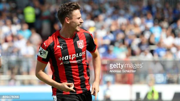 Martin Roeser of Hallescher FC celebrate during the 3 Liga match between Karlsruher SC and Hallescher FC at on August 26 2017 in Karlsruhe Germany