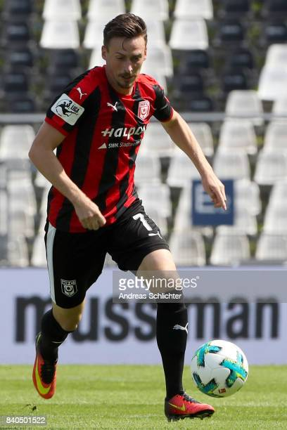 Martin Roeser of Hallescher FC during the 3 Liga match between Karlsruher SC and Hallescher FC at on August 26 2017 in Karlsruhe Germany